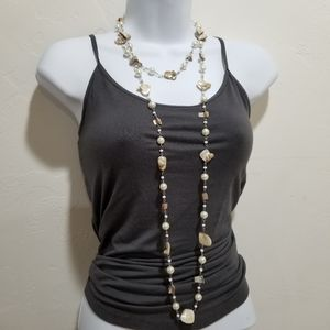 Extra Long Pearl and Shell Rope Necklace